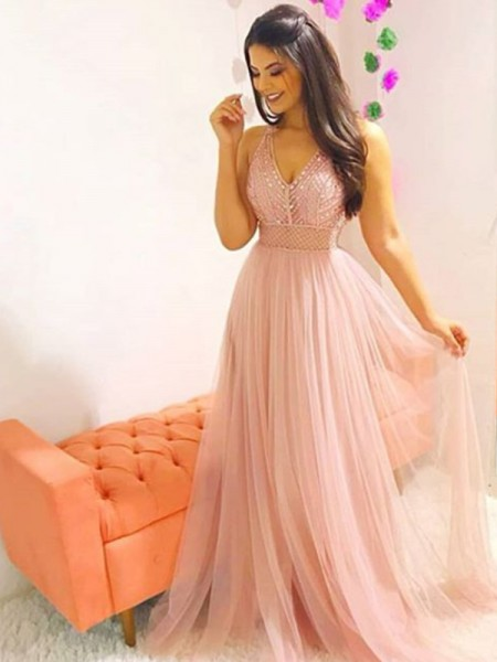A-Line/Princess Sleeveless V-neck Sweep/Brush Train Crystal Tulle Dress