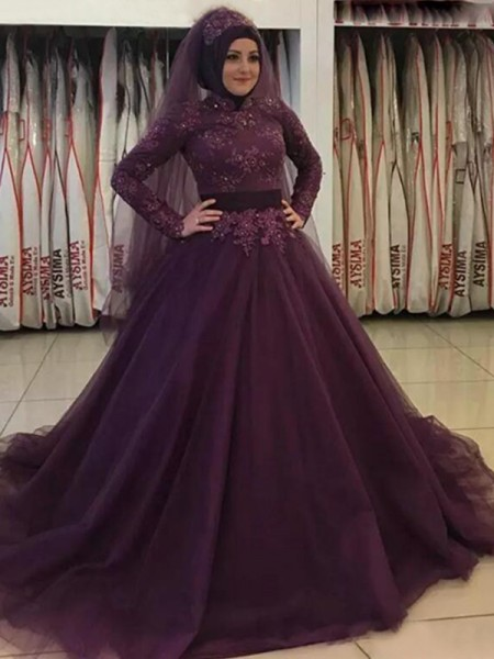 Ball Gown Long Sleeves High Neck Sweep/Brush Train Applique Tulle Muslim Dress