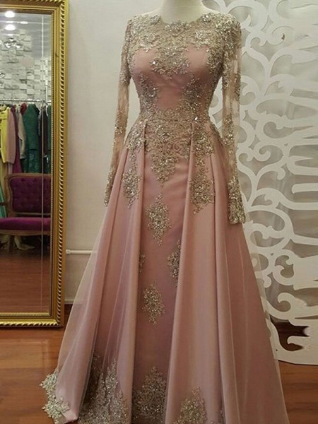 A-Line/Princess Scoop Long Sleeves Floor-Length Applique Tulle Muslim Dress