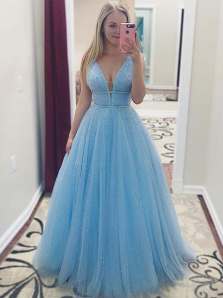 A-Line/Princess Sleeveless V-neck Floor-Length Pearls Tulle Dress