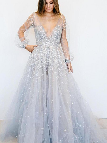 A-Line/Princess Long Sleeves V-neck Sweep/Brush Train Sequin Tulle Dress