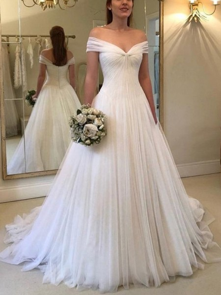 A-Line/Princess Off-the-Shoulder Sleeveless Sweep/Brush Train Ruched Tulle Wedding Dress