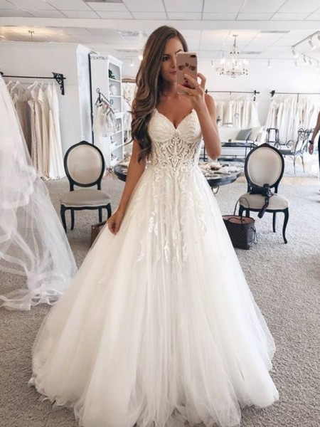 A-Line/Princess Sweetheart Sleeveless Floor-Length Lace Tulle Wedding Dress