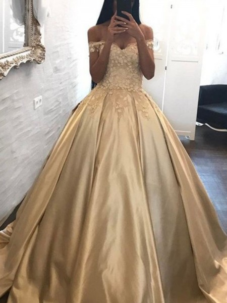Ball Gown Off-the-Shoulder Sleeveless Sweep/Brush Train Applique Satin Dress