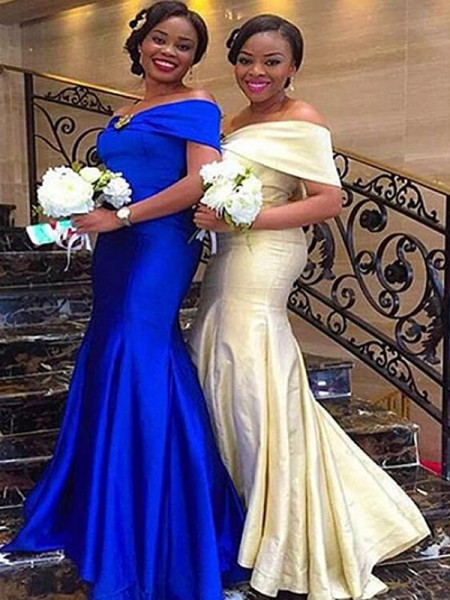 Floor-Length Trumpet/Mermaid Off-the-Shoulder Sleeveless Bridesmaid Dresses with Satin