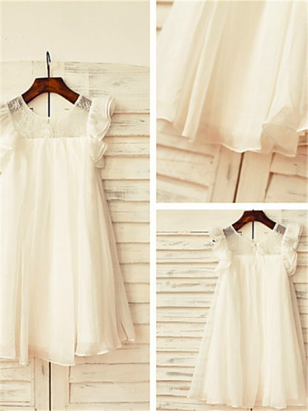 A-line/Princess Scoop Tea-Length Chiffon Flower Girl Dress with Lace