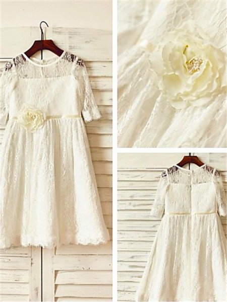 A-line/Princess Scoop Hand-made Flower Ankle-Length Flower Girl Dress with Lace