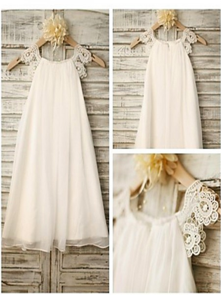 A-line/Princess Scoop Sleeveless Lace Ankle-Length Chiffon Flower Girl Dresses