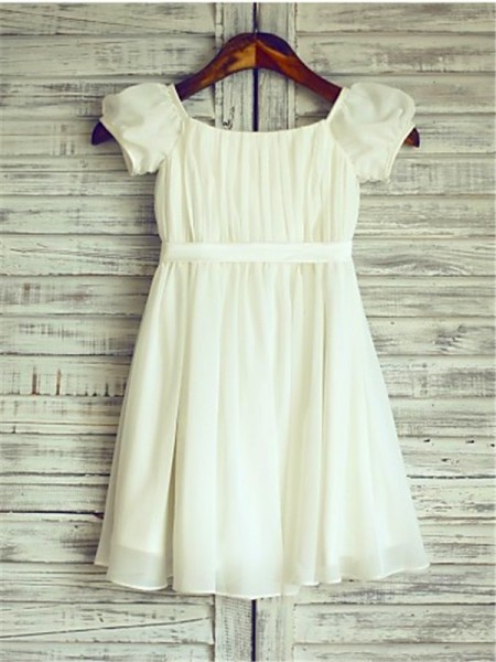 A-line/Princess Square Ruched Tea-Length Chiffon Flower Girl Dress