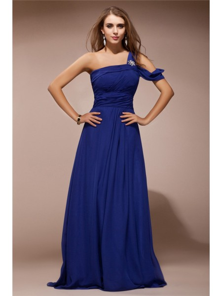Sheath/Column One Shoulder Ruffles Rhinestone Chiffon Dress