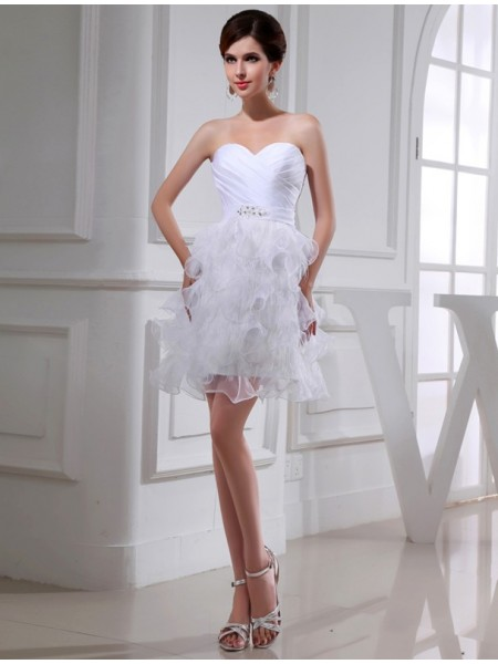 A-Line/Princess Sweetheart Short Satin Organza Cocktail Dress