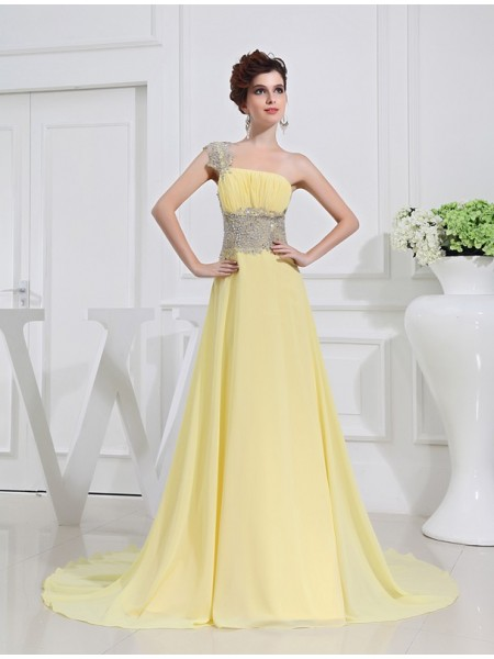 A-Line/Princess One-shoulder Appliques Chiffon Dress