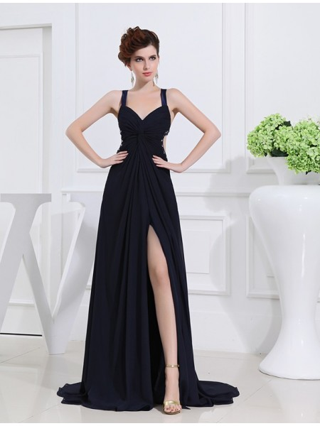 A-Line/Princess V-neck Chiffon Dress