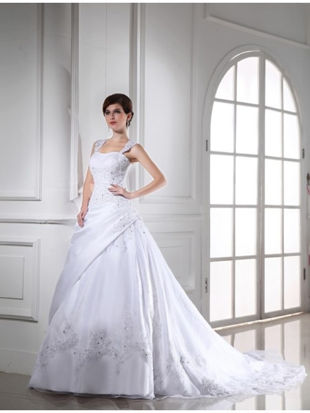 Ball Gown Long Satin Organza Wedding Dress