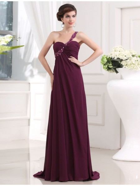 A-Line/Princess One-shoulder Sweetheart Chiffon Long Dress