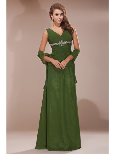 Sheath/Column V-neck Chiffon Mother of the Bride Dress