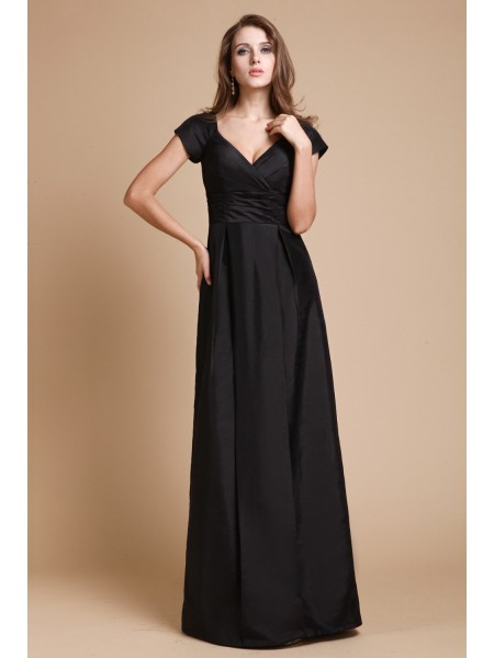 Sheath/Column V-neck Ruffles Taffeta Dress