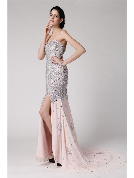 Trumpet/Mermaid Sweetheart Rhinestone Chiffon Dress