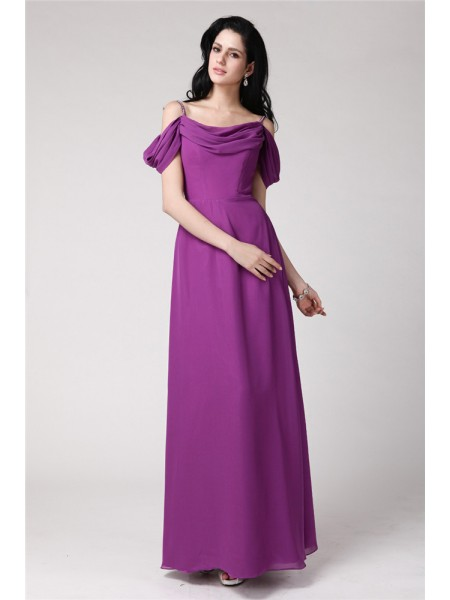 Sheath/Column Pleats Spaghetti Straps Chiffon Bridesmaid Dress