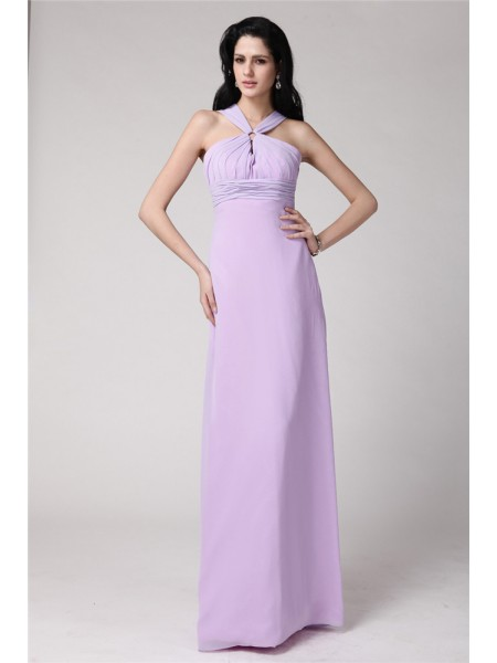 Sheath/Column High Neck Pleats Chiffon Bridesmaid Dress