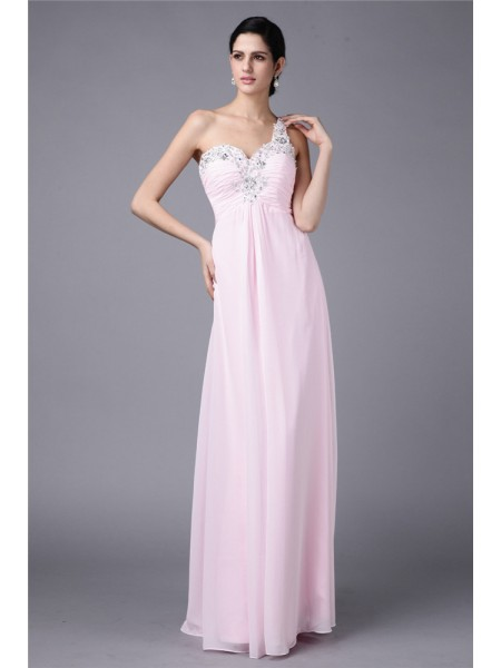 Sheath/Column One-Shoulder Applique Chiffon Dress