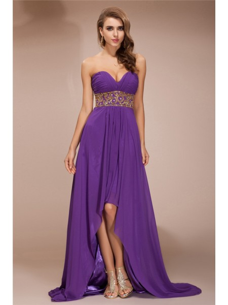 A-Line/Princess Sweetheart High Low Chiffon Dress