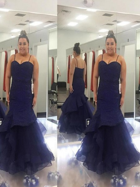 Trumpet/Mermaid Spaghetti Straps Ruched Floor-Length Tulle Plus Size Dress