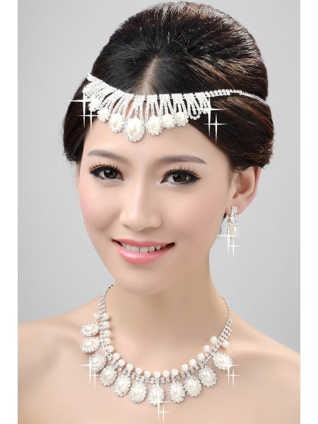 Nice Alloy Clear Crystals Pearls Wedding Headpieces Necklaces Earrings Set