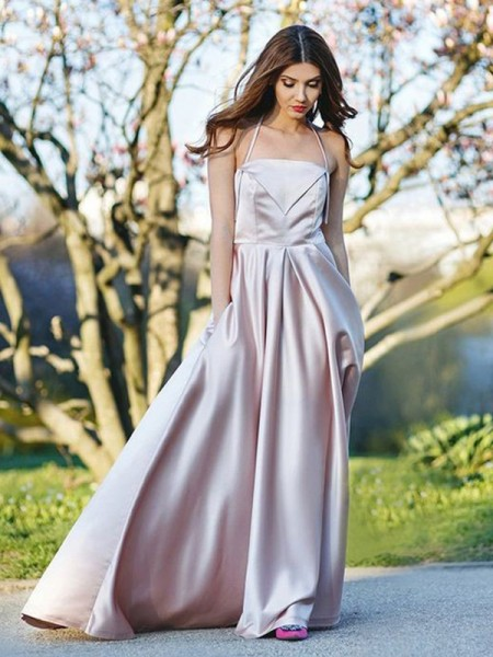 A-Line/Princess Halter Sleeveless Sweep/Brush Train Ruched Satin Dresses
