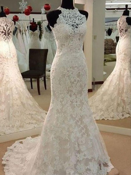 Sheath/Column Sleeveless Sweep/Brush Train Scoop Applique Lace Wedding Dresses