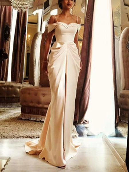 Sheath/Column Sweep/Brush Train Short Sleeves Ruffles Off-the-Shoulder Satin Wedding Dresses