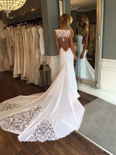 Trumpet/Mermaid Sleeveless Sweetheart Applique Cathedral Train Lace Wedding Dresses