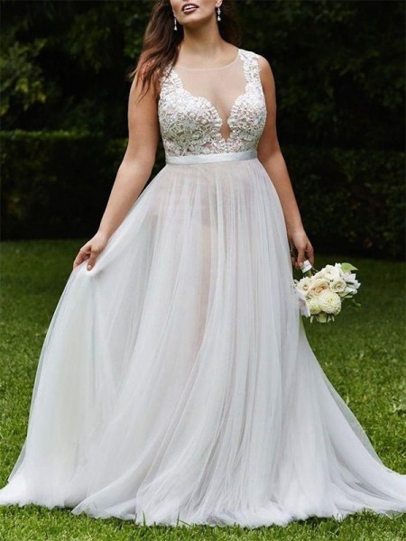 A-Line/Princess Scoop Court Train Sleeveless Lace Tulle Wedding Dresses