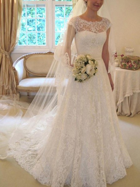 A-Line/Princess Sash/Ribbon/Belt Short Sleeves Square Court Train Applique Lace Wedding Dresses