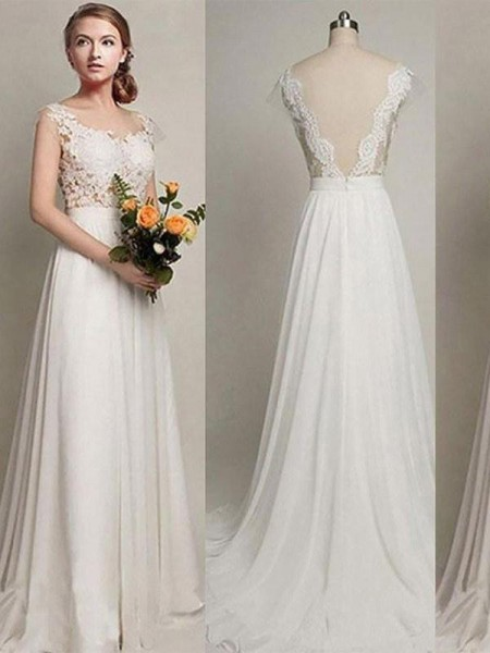 A-Line/Princess Sleeveless Scoop Lace Chiffon Sweep/Brush Train Wedding Dresses
