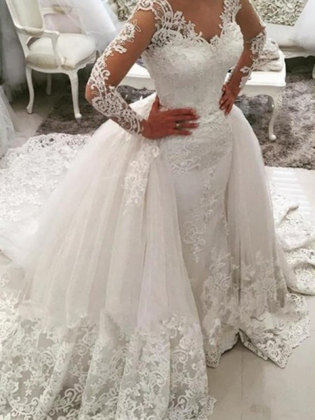 Ball Gown V-neck Cathedral Train Applique Lace Tulle Long Sleeves Wedding Dresses