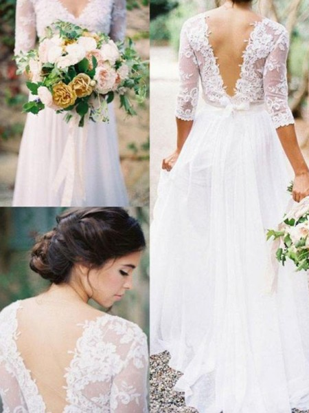 A-Line/Princess 1/2 Sleeves V-neck Applique Lace Chiffon Floor-Length Wedding Dresses