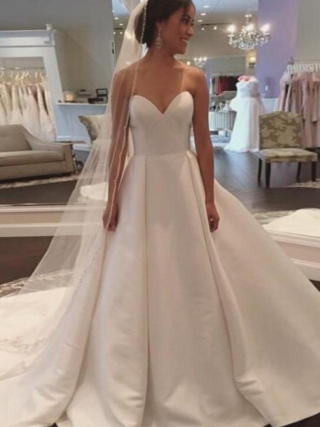 Ball Gown Sleeveless Sweetheart Court Train Satin Wedding Dresses