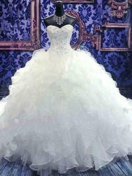 Sleeveless Sweetheart Chapel Train Ball Gown Beading Sequin Organza Wedding Dresses