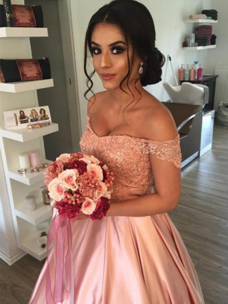 Ball Gown Sleeveless Off-the-Shoulder Satin Ruffles Cathedral Train Wedding Dresses