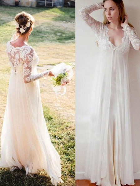 Empire V-neck Chiffon Lace Long Sleeves Floor-Length Wedding Dresses