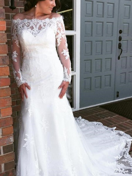 Trumpet/Mermaid Off-the-Shoulder Tulle Applique Long Sleeves Cathedral Train Wedding Dresses