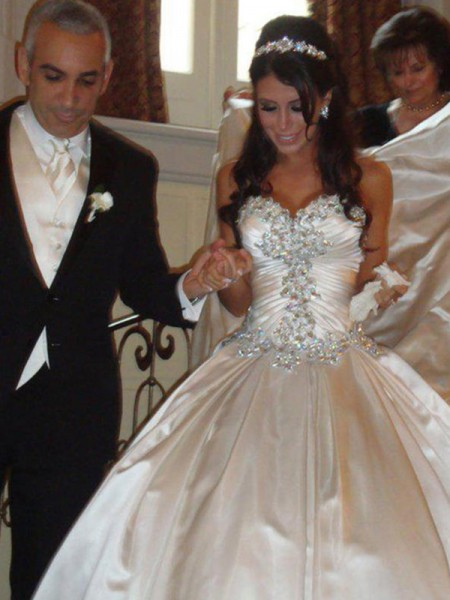 Ball Gown Satin Sweetheart Ruffles Sleeveless Cathedral Train Wedding Dresses