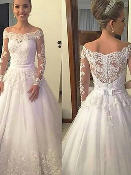 Ball Gown Tulle Long Sleeves Applique Off-the-Shoulder Court Train Wedding Dresses