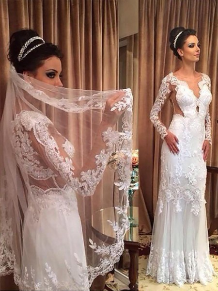 Sheath/Column V-neck Tulle Long Sleeves Applique Sweep/Brush Train Wedding Dresses
