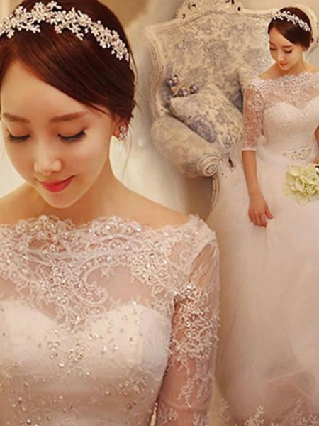 Ball Gown Beading Tulle 1/2 Sleeves Off-the-Shoulder Chapel Train Wedding Dresses