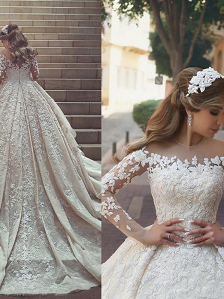 Ball Gown Satin Applique Scoop Long Sleeves Chapel Train Wedding Dresses