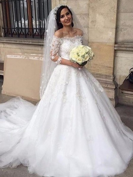 Tulle Off-the-Shoulder Applique 3/4 Sleeves Ball Gown Chapel Train Wedding Dresses