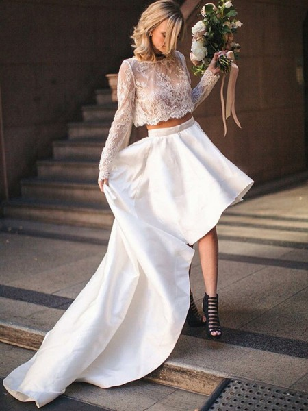 A-Line/Princess Satin Lace Scoop Long Sleeves Sweep/Brush Train Two Piece Wedding Dresses