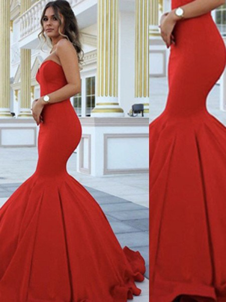 Mermaid Sweetheart Sweep/Brush Train Satin Formal Gown